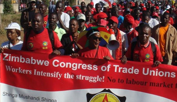 Workers gathered to celebrate May Day in Zimbabwe